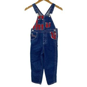 Vintage Jordache Kids Overalls Denim Plaid Trim